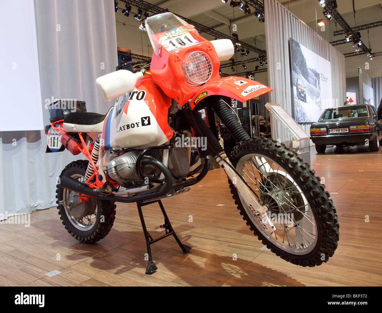 The BMW R80GS motorcycle used by Gaston Rahier in the 1985 Paris Dakar rallye - Stock Image