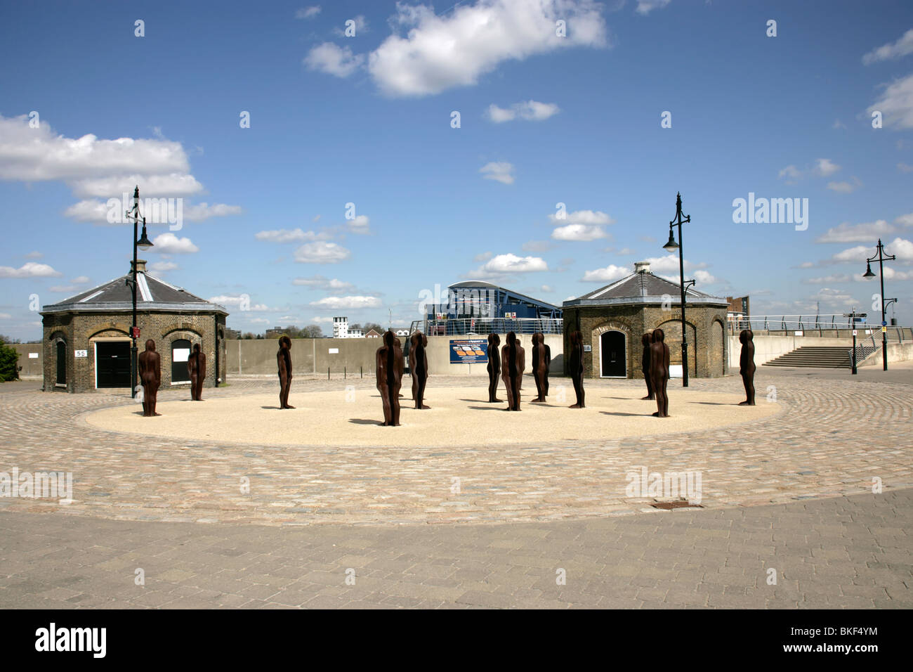 Peter Burke's cast iron statues on the waterfront at Royal Woolwich Arsenal, southeast London, UK Stock Photo