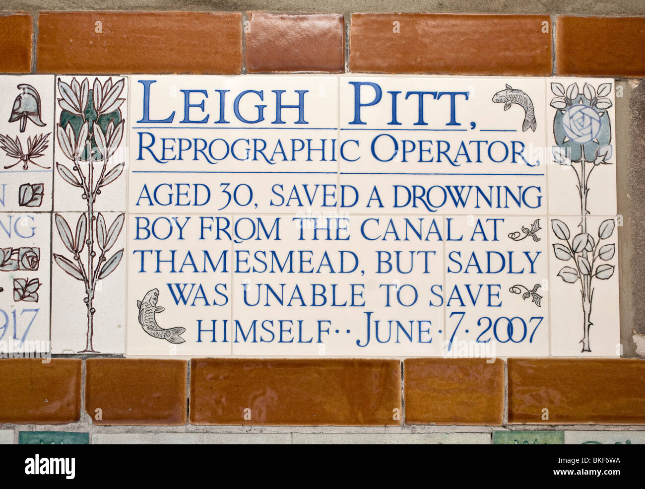 Memorial tiles to Leigh Pitt. Postman's Park, The City, London, England, UK - Stock Image
