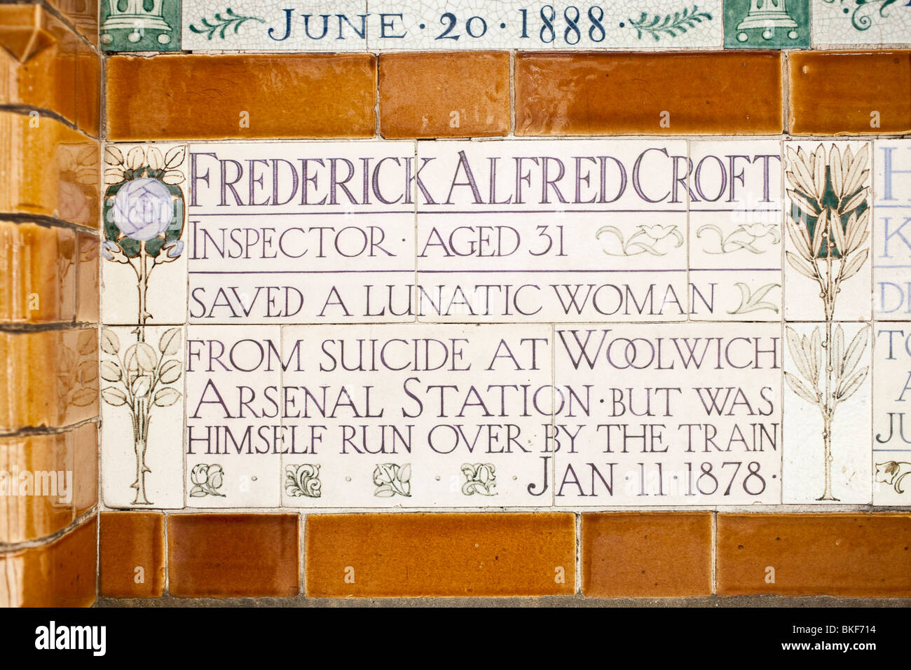 Memorial plaque to Frederick Alfred Croft. Postmans Park, The City, London, England, UK - Stock Image