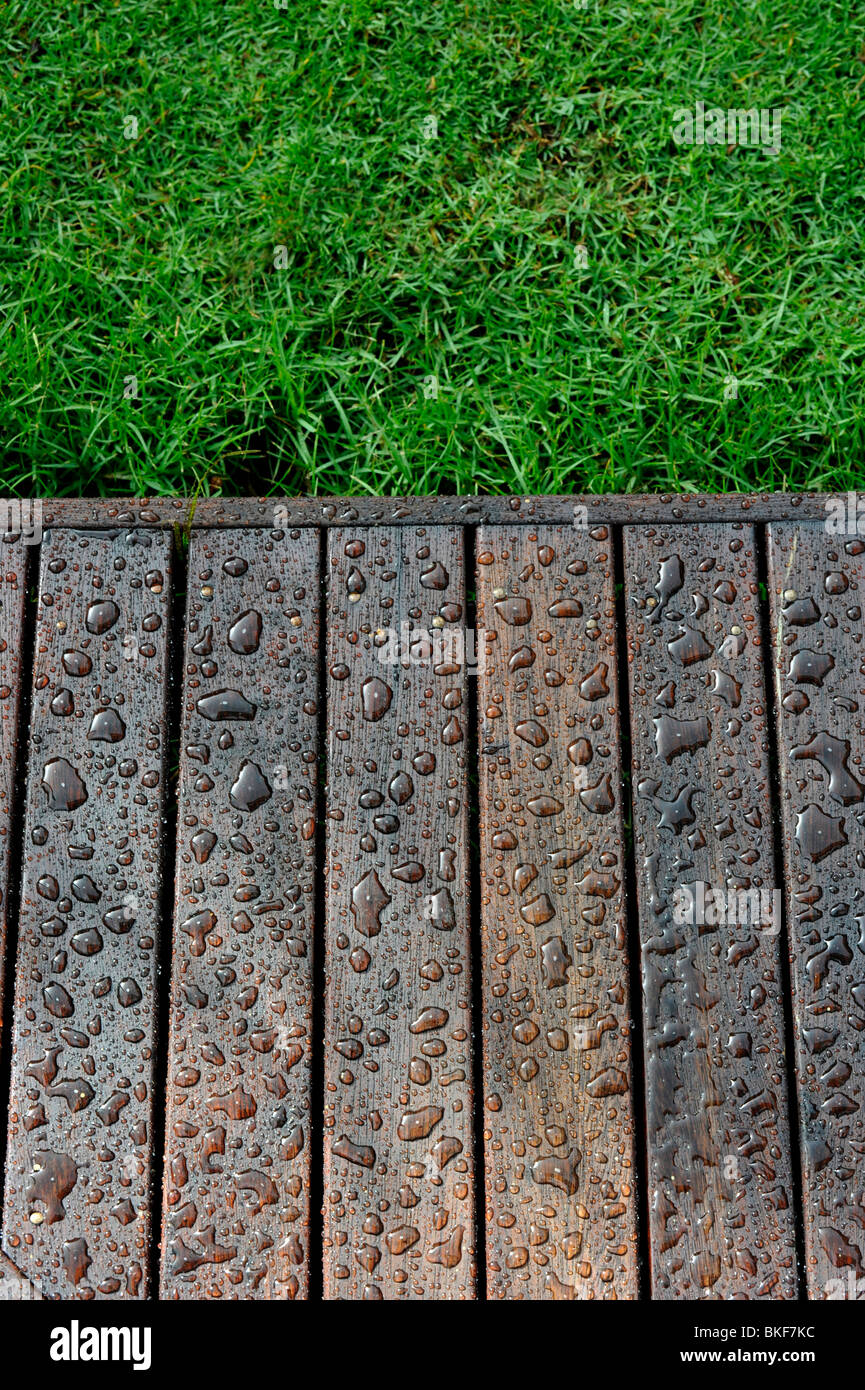 Water sits on a wooden deck after water-proof stain has been applied. - Stock Image