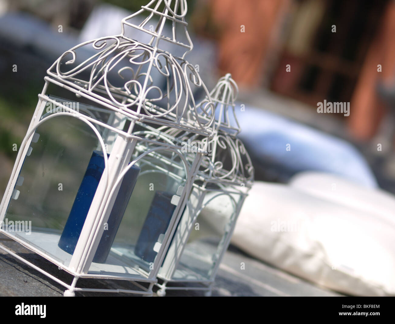 Italian garden candle holders - Stock Image