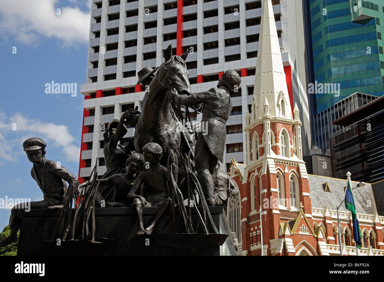 Monument The Petrie Tableau on King George Square and Albert Street Uniting Church in Brisbane, Queensland, Australia - Stock Image