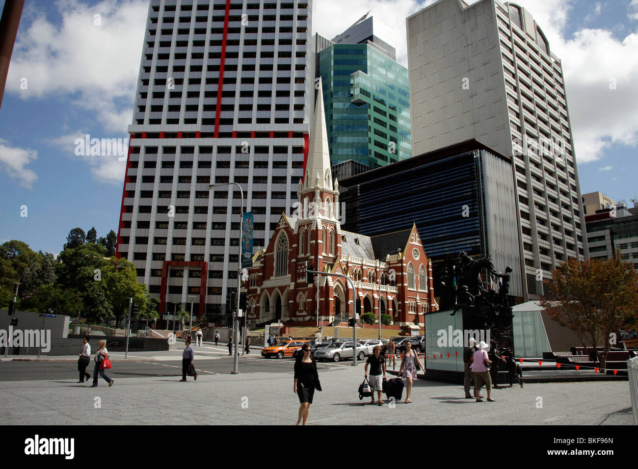 King George Square and Albert Street Uniting Church in Brisbane, Queensland, Australia - Stock Image