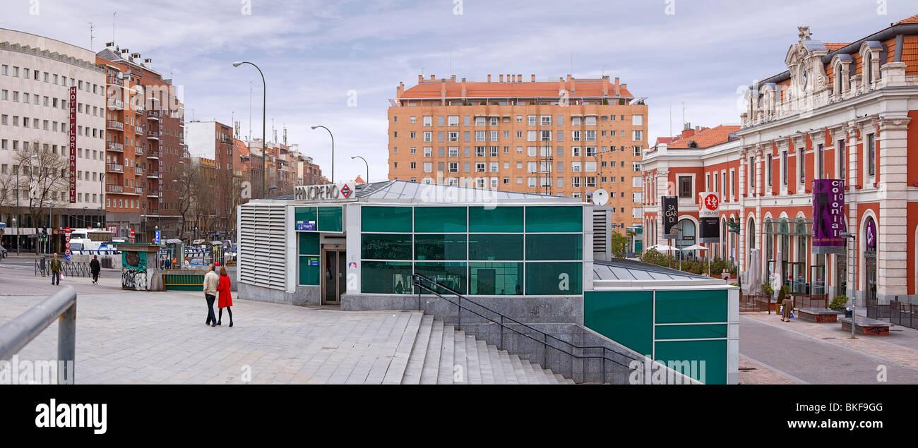 Panoramic Of The Principe Pio Train Tram And Metro
