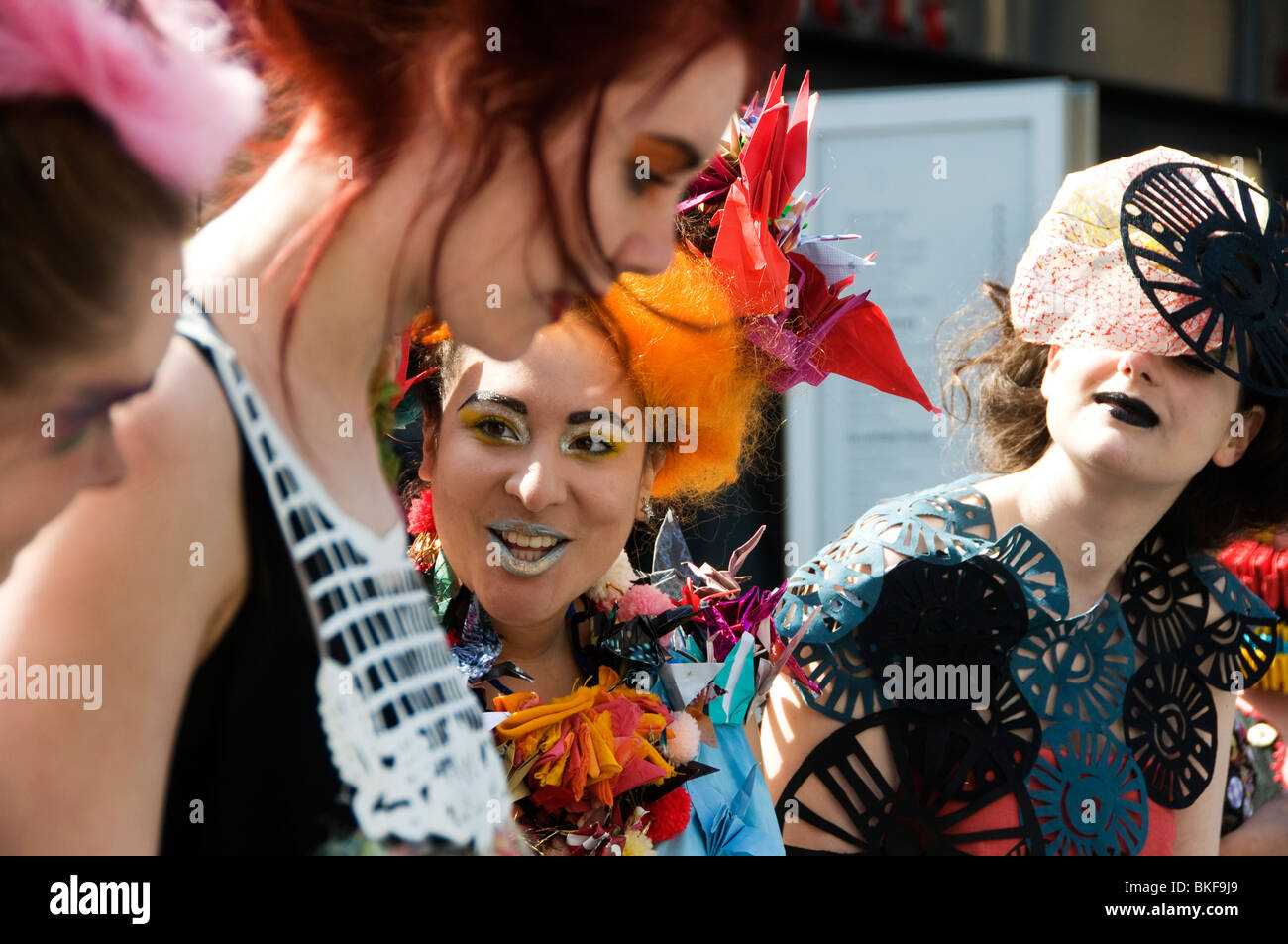Alternative fashion week Spitafields. Textile students from Chelsea College of Art - Stock Image