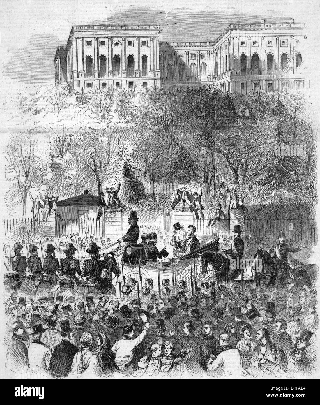 Contemporary sketch of the inaugural procession of US President Elect Abraham Lincoln on March 4 1861. - Stock Image