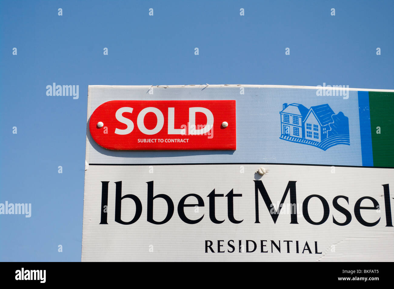 Sold Subject To Contract Estate Agent Sign - Stock Image