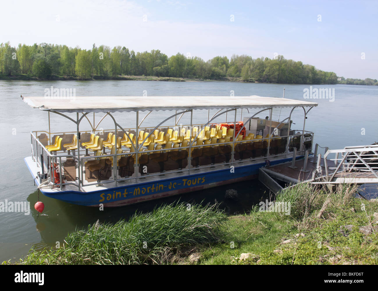 Le Saint-Martin-de-Tours boat moored on the bank of the River Loire Rochecorbon France  April 2010 - Stock Image