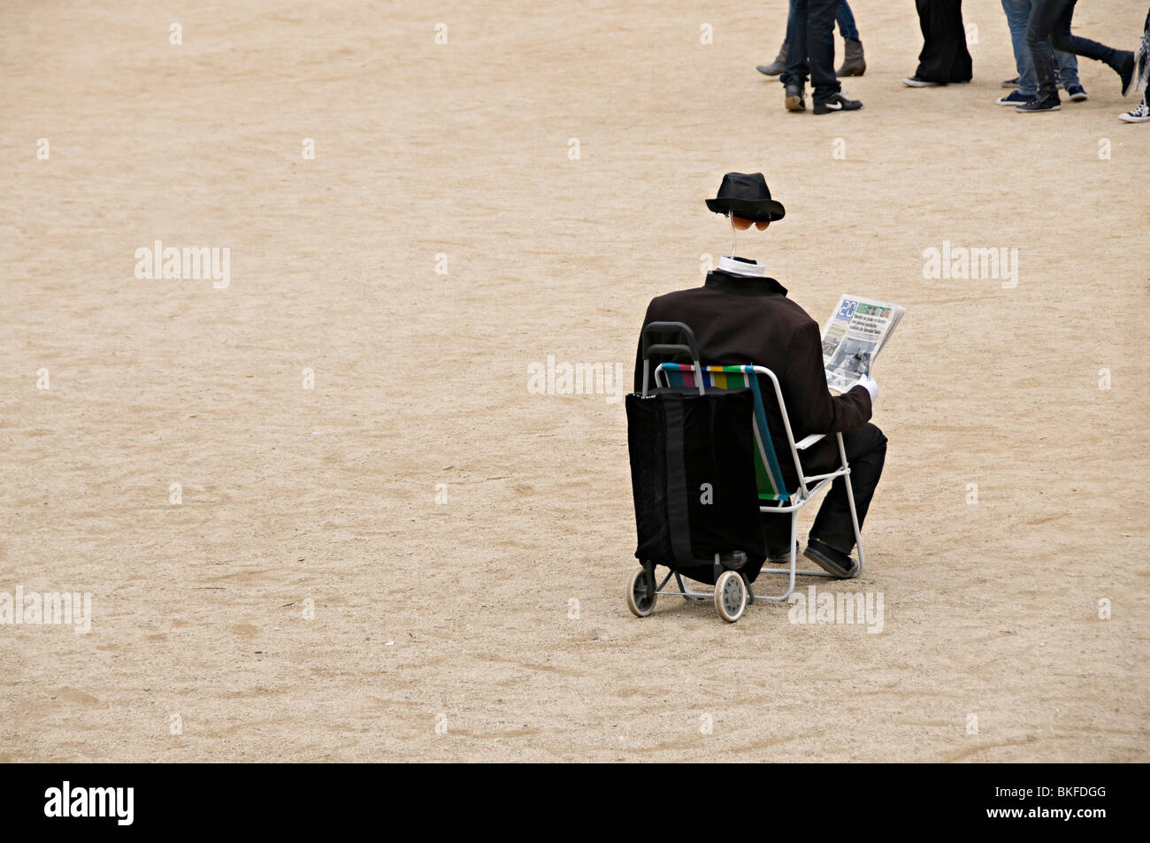 street performer in park guell Barcelona as an invisible man - Stock Image