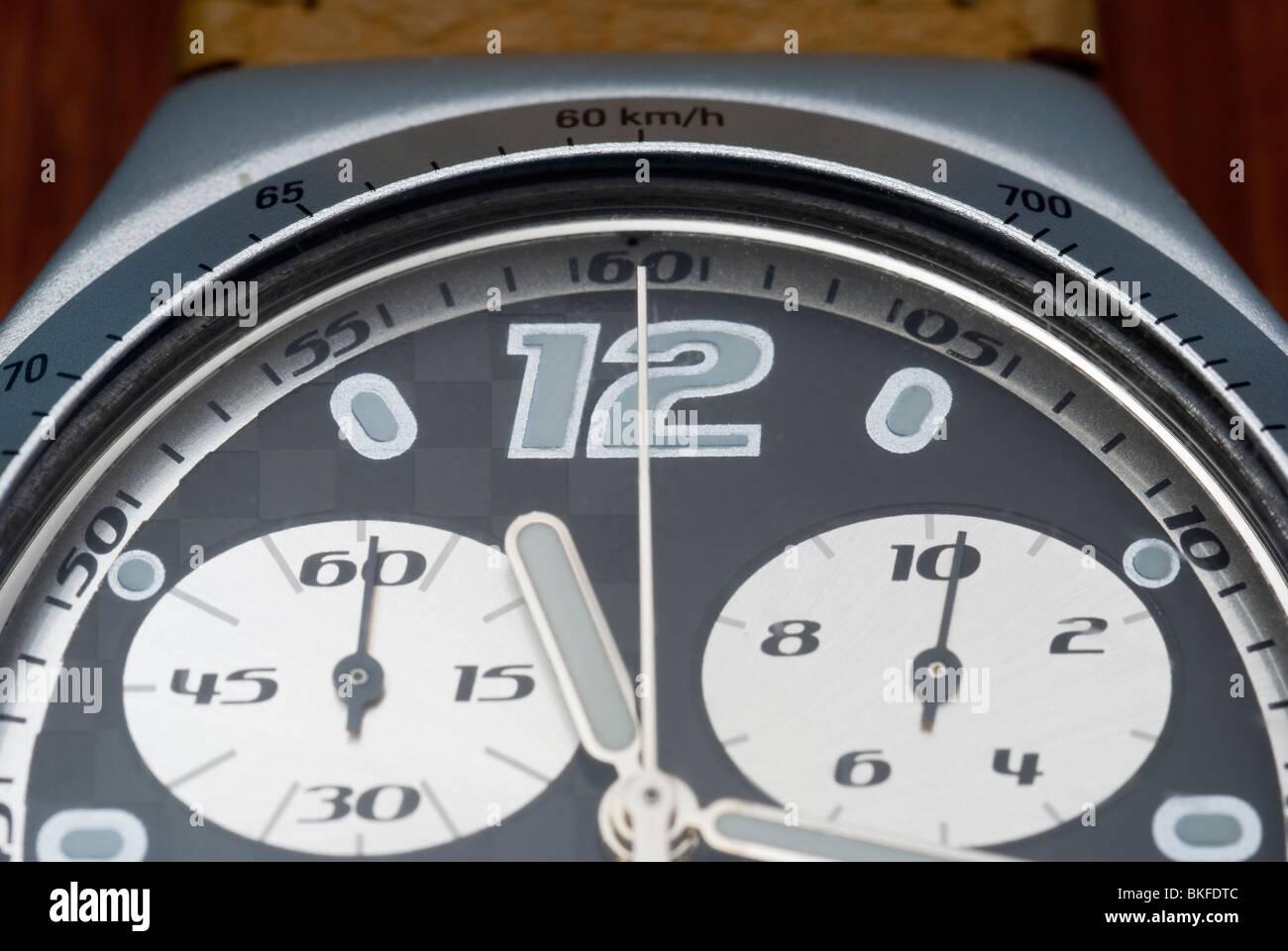 close up of chronograph wrist watch - Stock Image