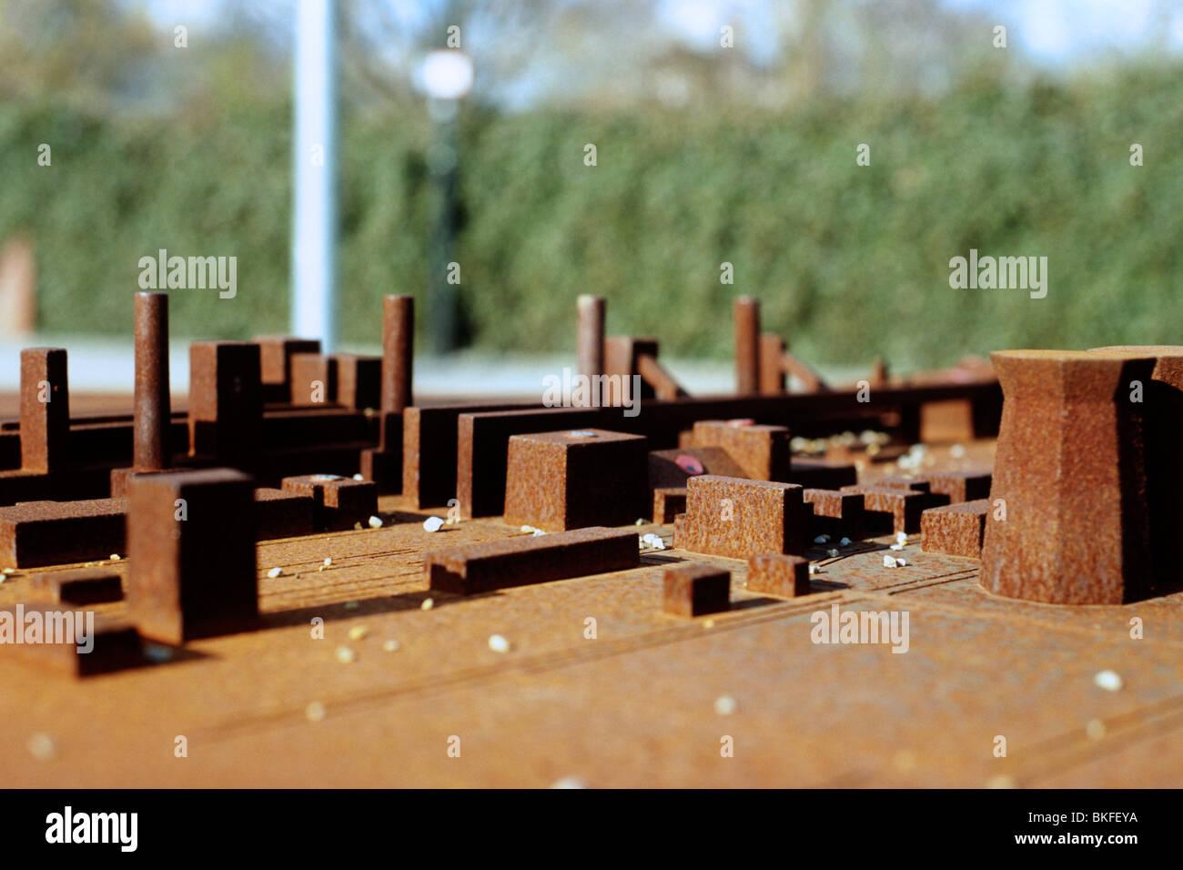 Sculpture depicting the Zeche Zollverein coal mine, Essen - Stock Image