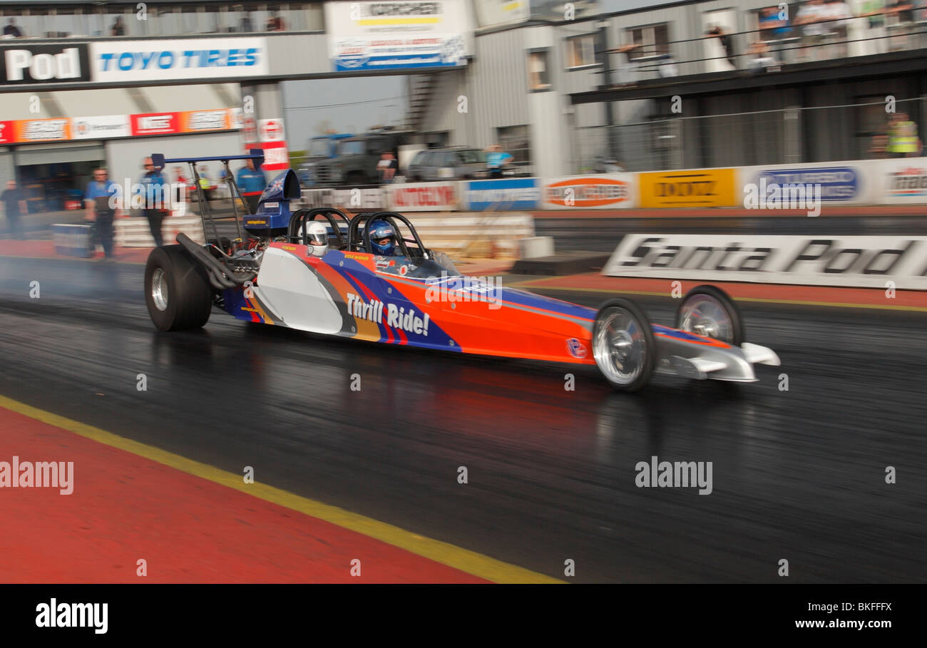 Twin seater thrill ride dragster, Santa Pod raceway. - Stock Image