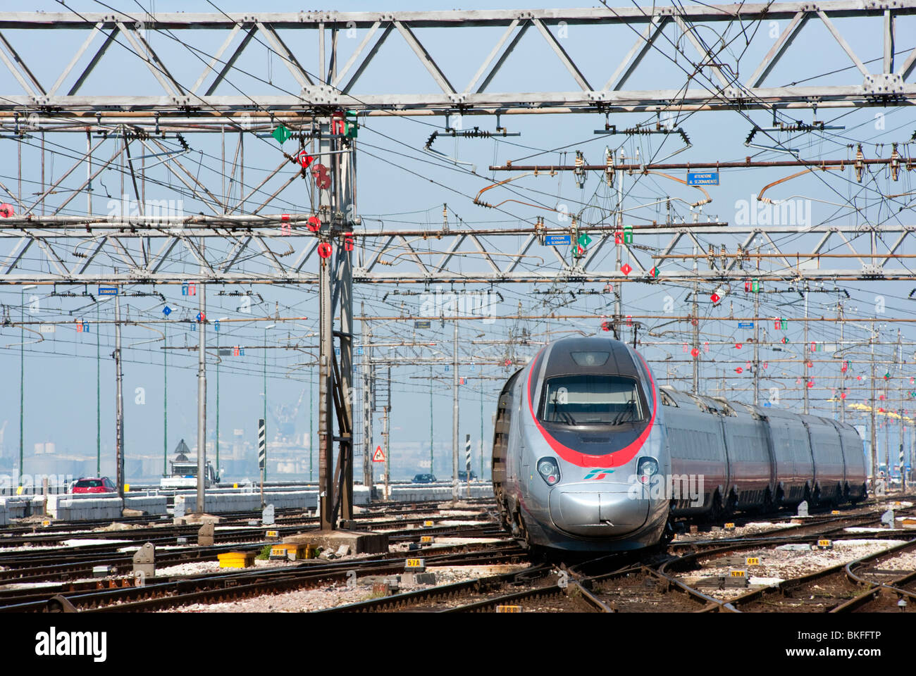High speed Italian  Frecciarossa train at Venice railway station in Italy - Stock Image