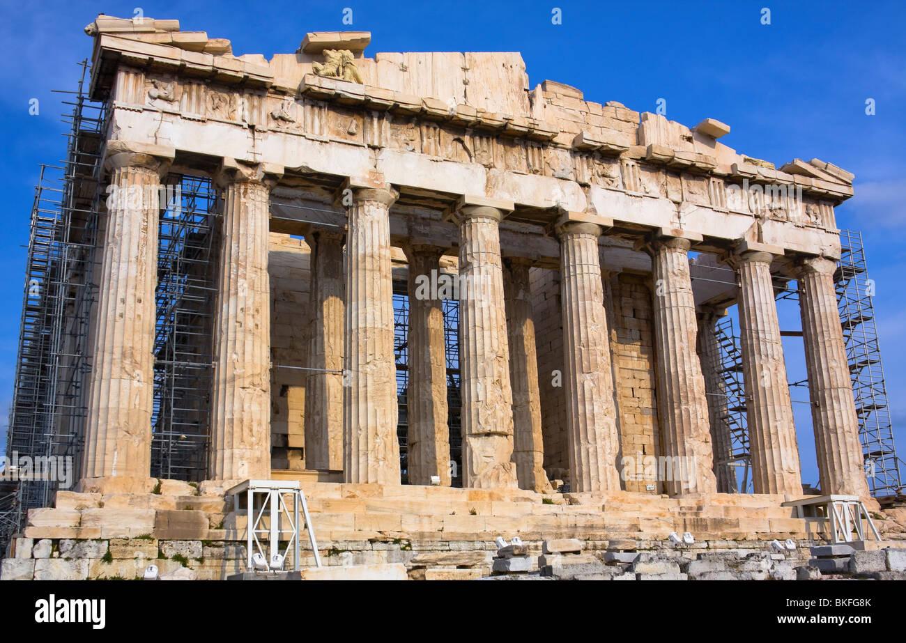 Parthenon construction on Acropolis hill in Athens Greece Stock