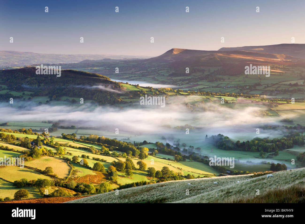 Rolling countryside in the Usk Valley, Brecon Beacons National Park, Powys, Wales, UK. Autumn (October) 2009 Stock Photo