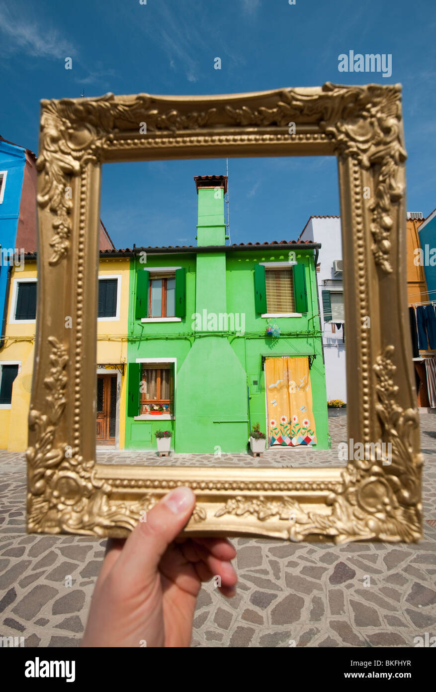 Colourful houses in village of Burano near Venice in Italy - Stock Image
