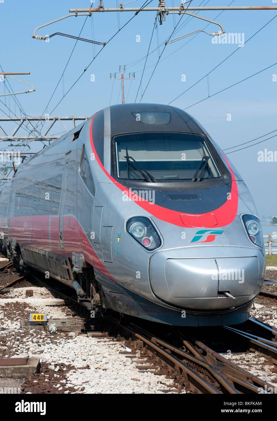 High speed Italian Eurostar train at Venice railway station in Italy - Stock Image