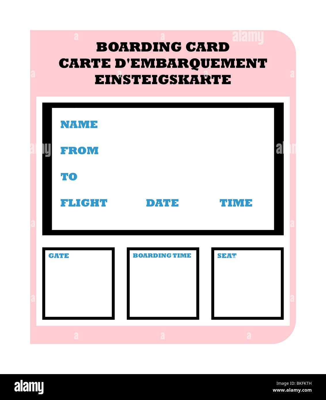 Airline Boarding Ticket Pass In English French And German Isolated