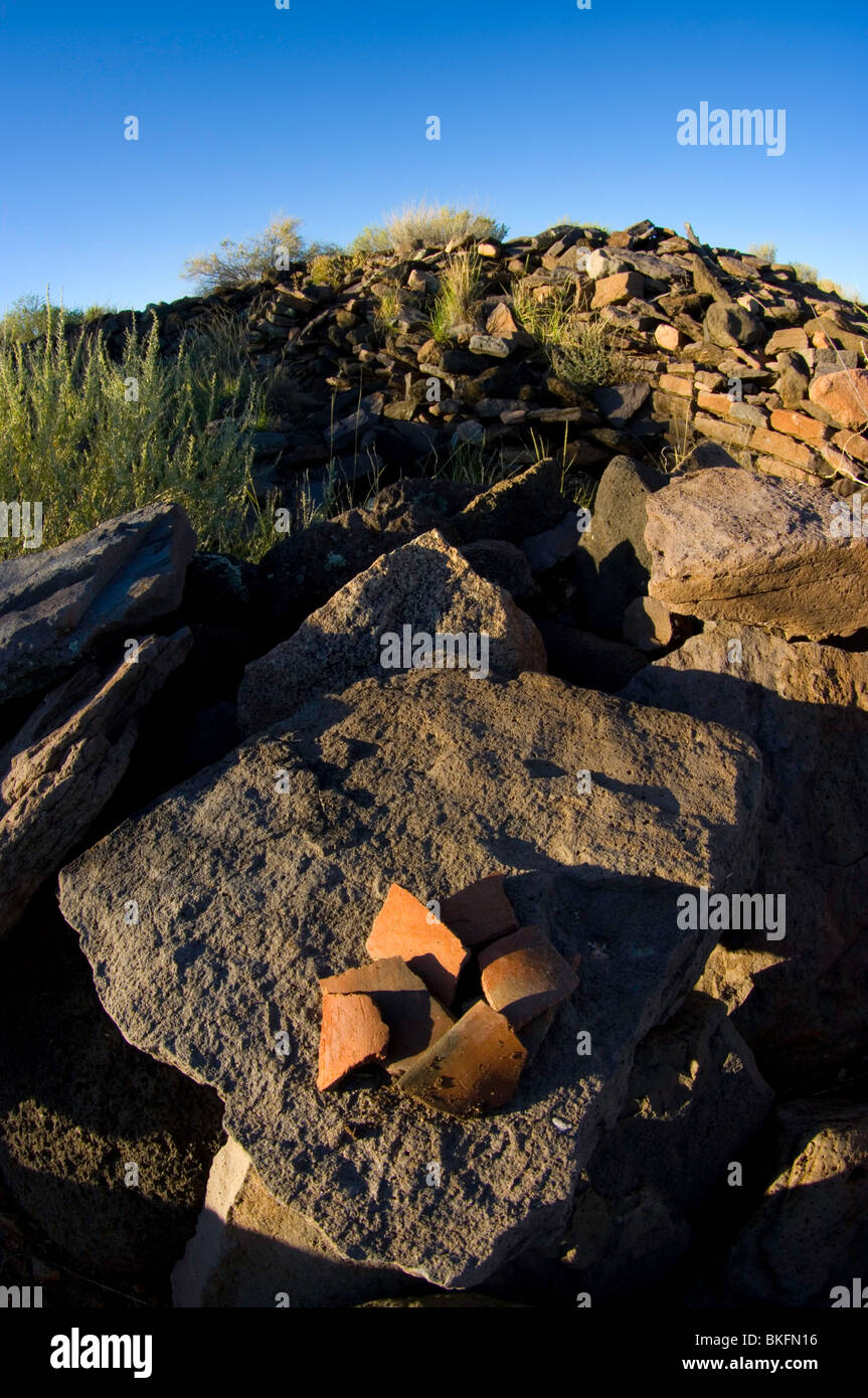 Pottery chards on the walls of Pueblo La Plata, Agua Fria National Monument, Arizona Stock Photo