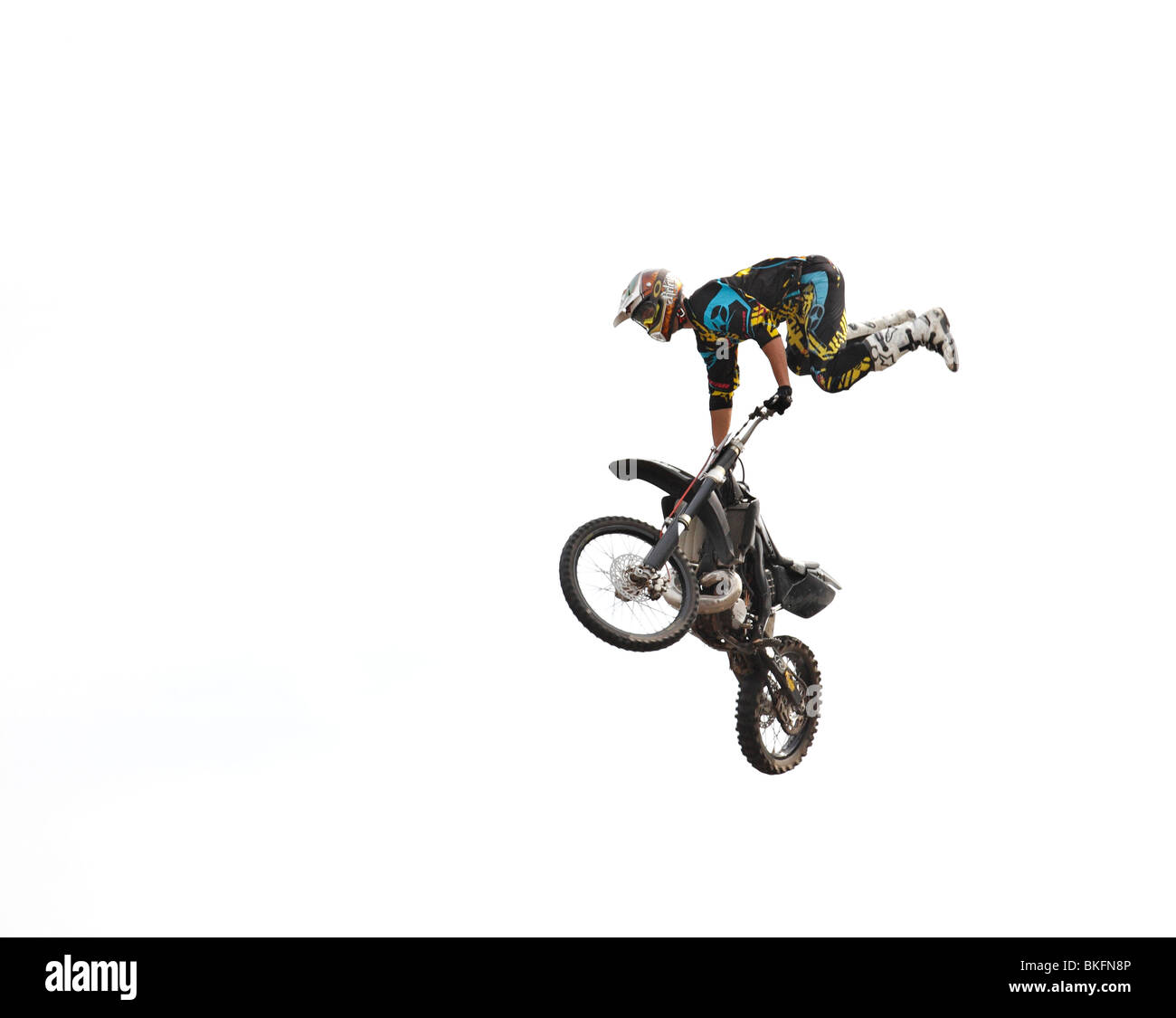 Freestyle motorbike in the air. - Stock Image