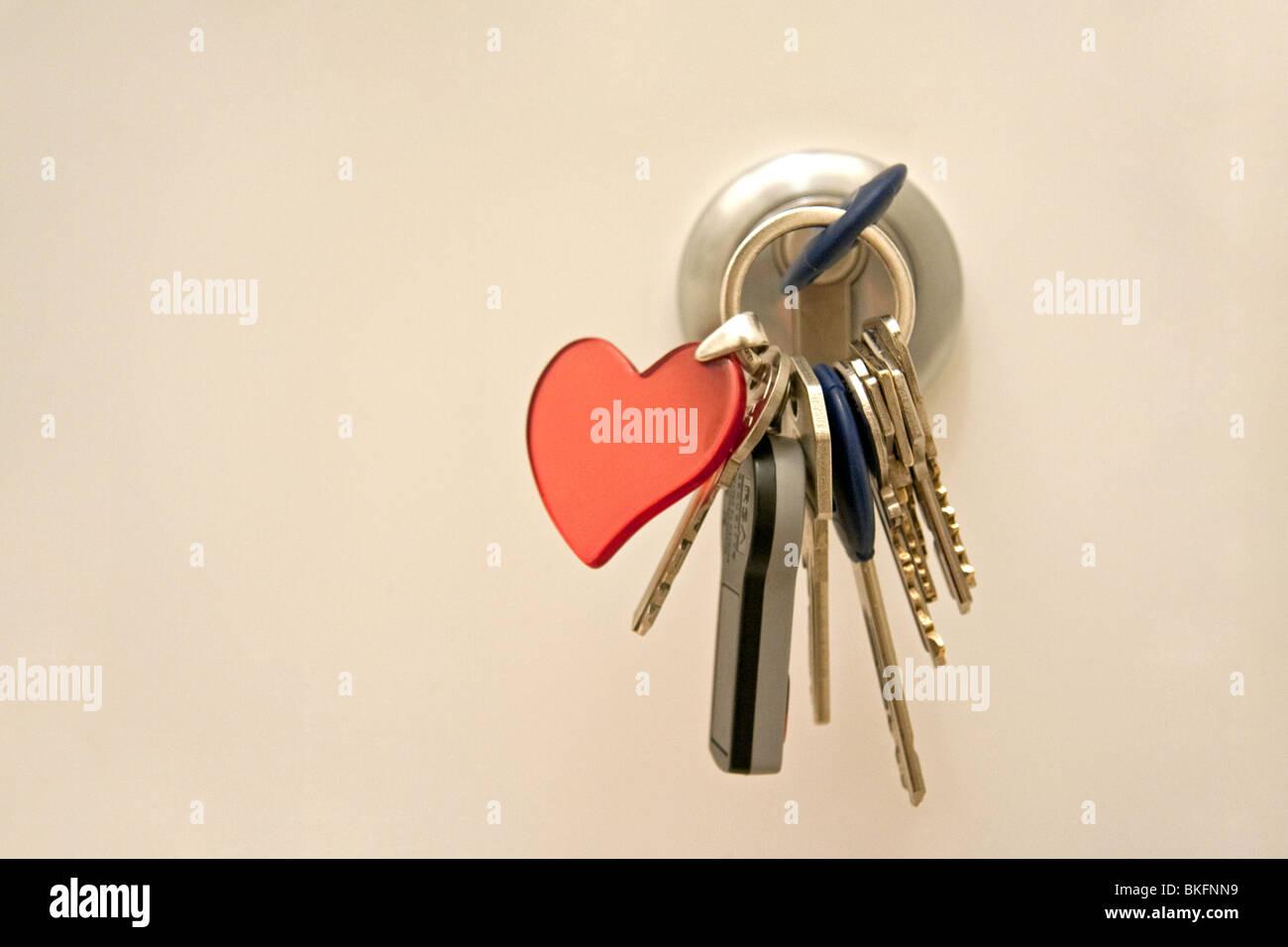 Door lock with key chain - Stock Image