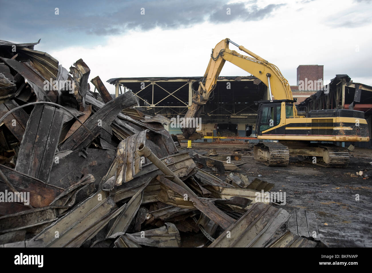 Scrap Metal Pile & Heavy Machinery Construction Equipment At Demolition Site, Philadelphia, USA - Stock Image