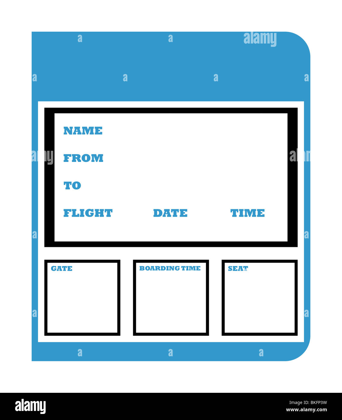 Airline Boarding Ticket Pass Isolated On White Background With Copy