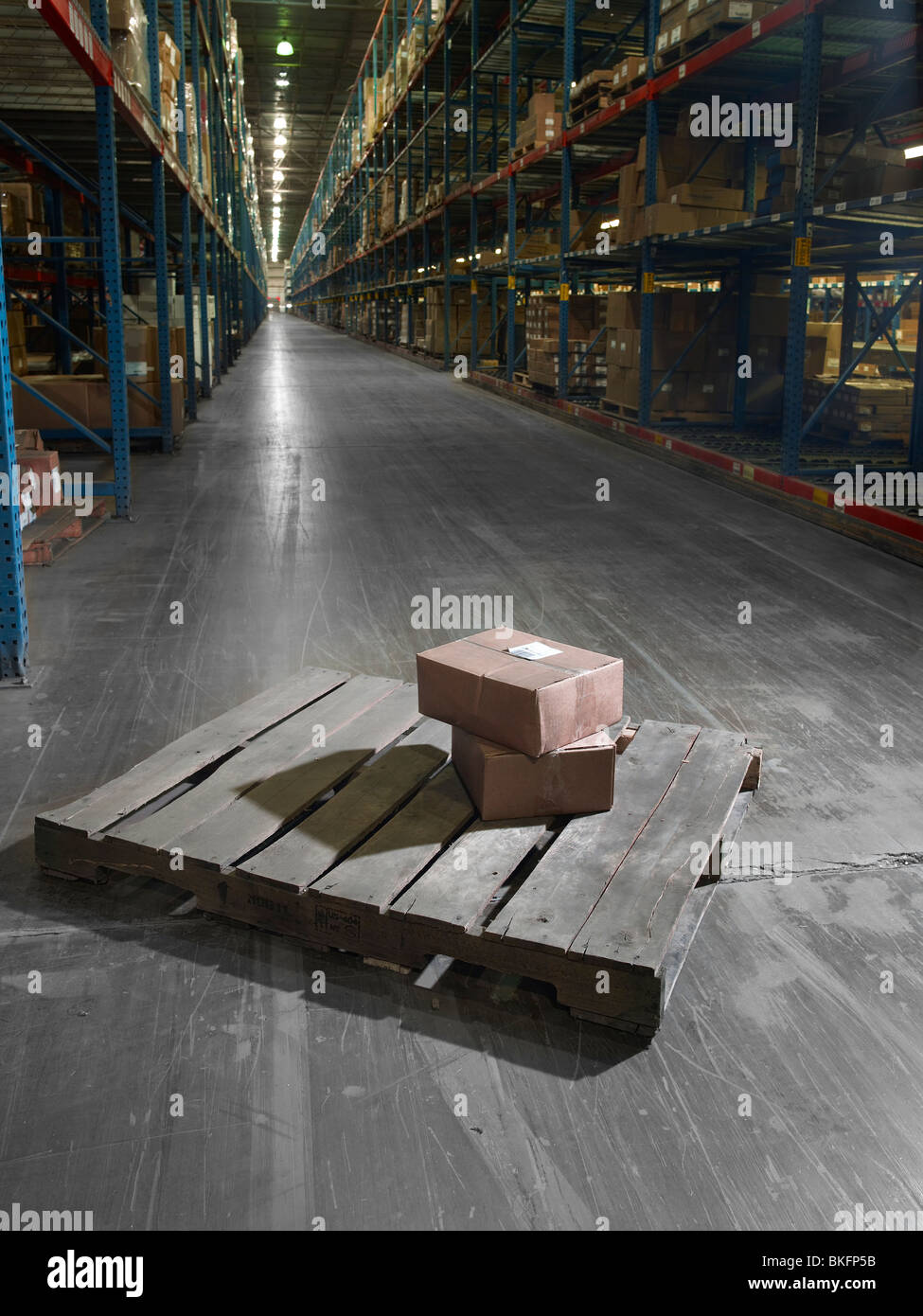 Boxes On Pallet In Large Warehouse, Philadelphia, USA - Stock Image