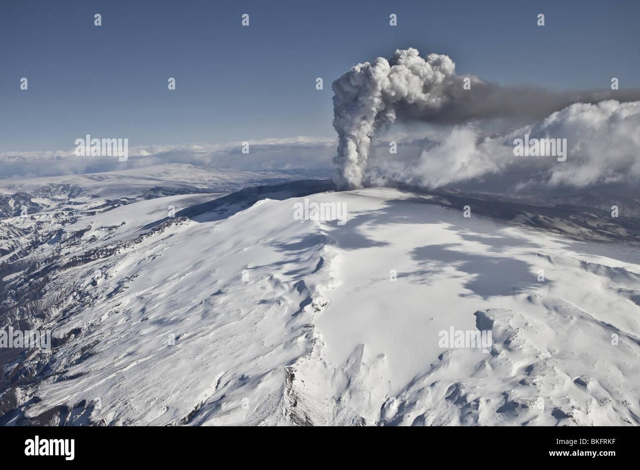 Volcanic Ash Cloud from Eyjafjallajokull Volcano Eruption, Iceland. - Stock Image