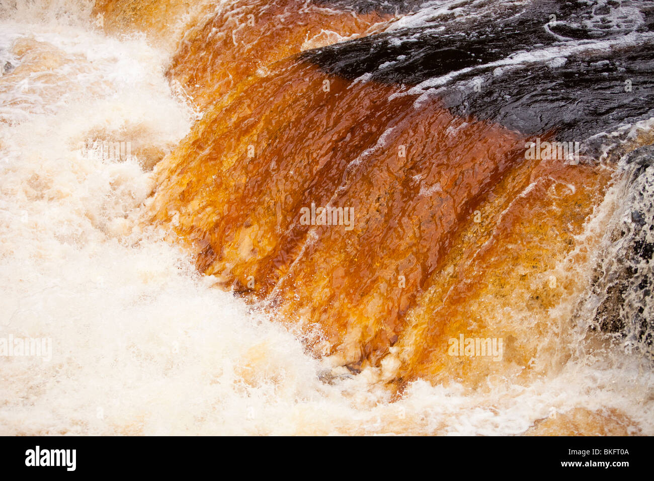 Aysgarth Falls at Aysgarth in the Yorkshire Dales National Park, UK with the water stained by peat - Stock Image