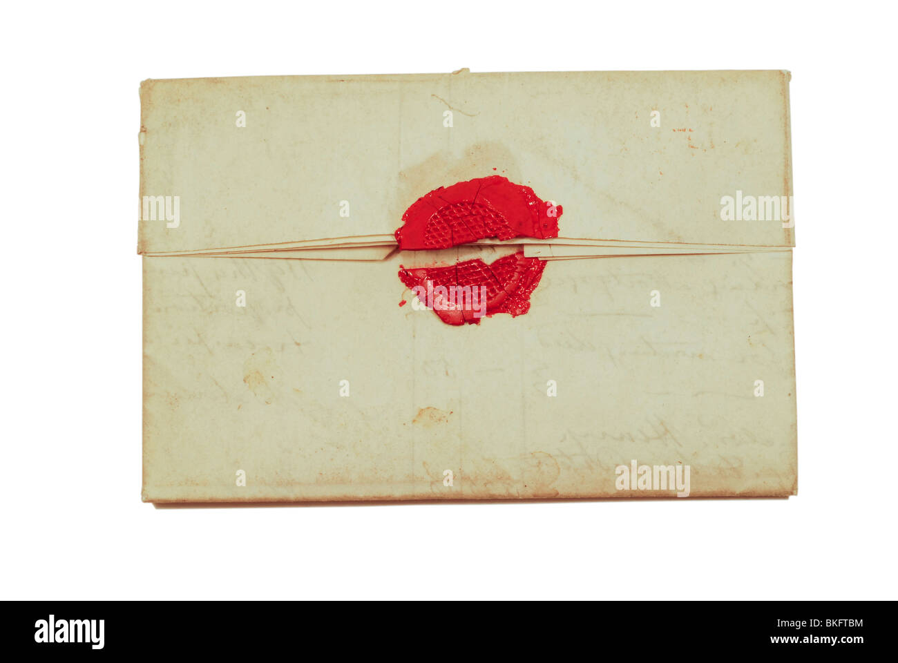 A broken wax seal on an 1830 letter postmarked Portland ME. - Stock Image