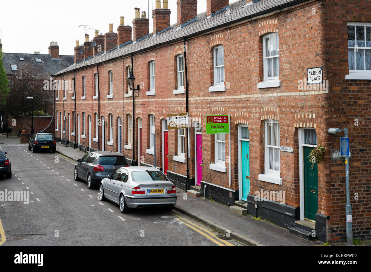 Terraced houses, Chester, Cheshire, England, UK - Stock Image
