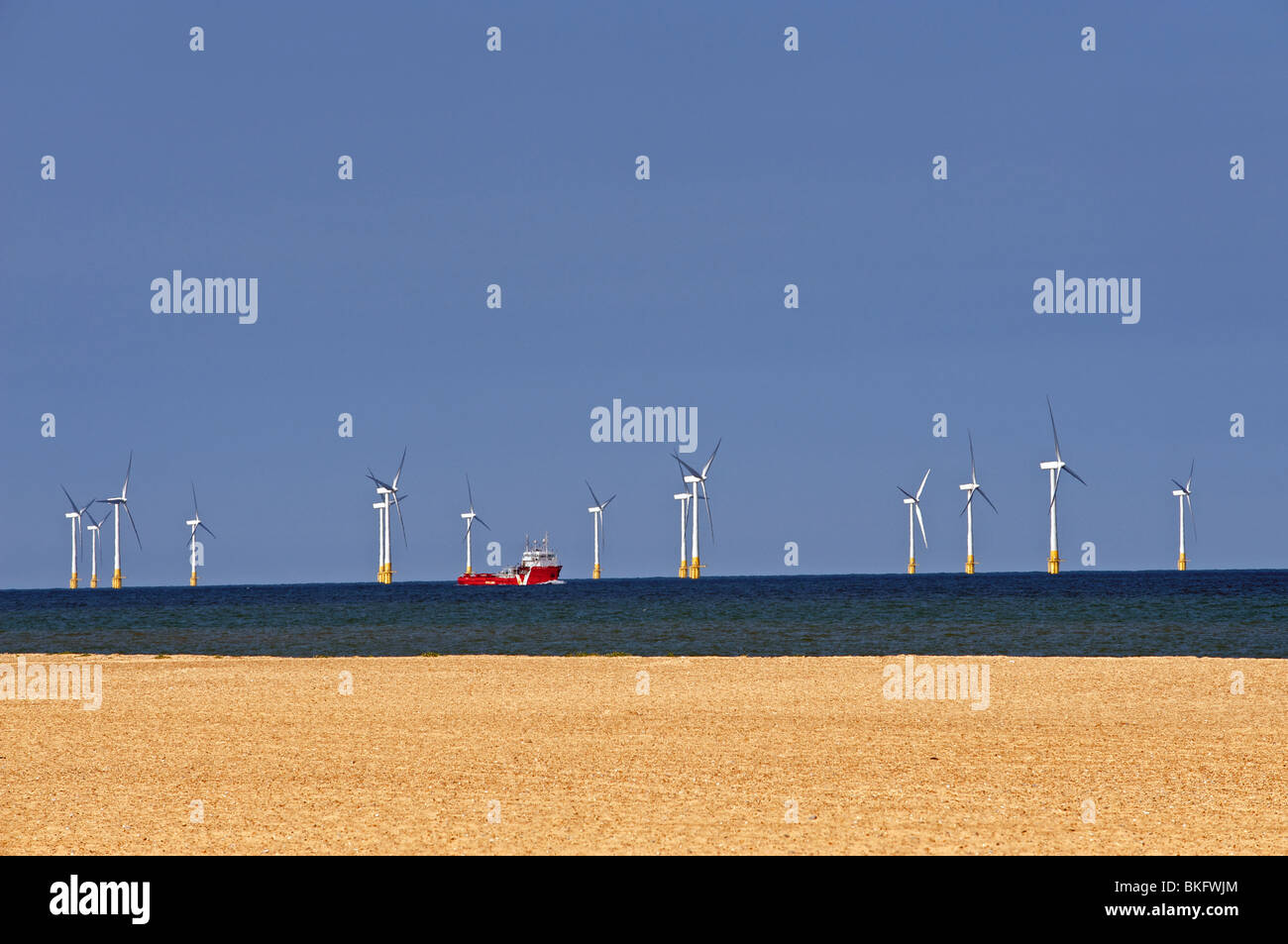 Off shore windfarm, UK. - Stock Image