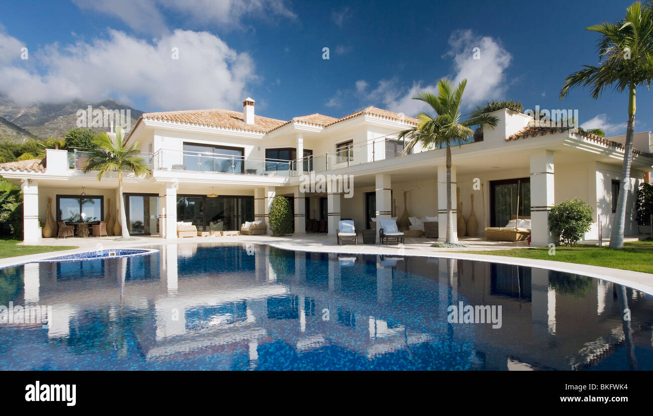 Swimming Pool In Front Of Large Modern White Spanish Villa