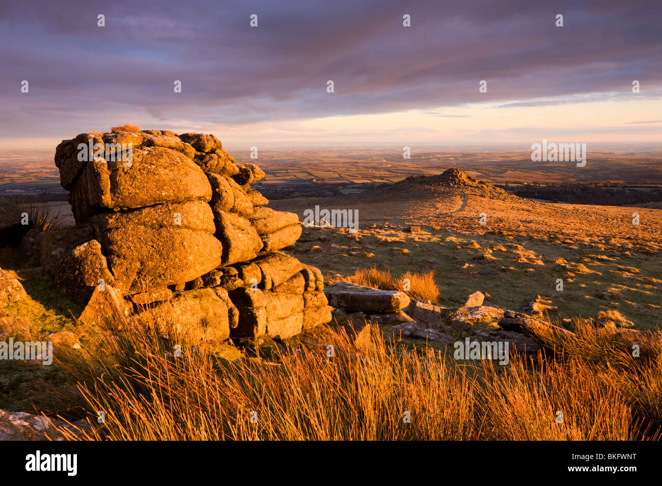 Golden sunshine glows against the granite outcrops at Belstone Tor, Dartmoor National Park, Devon, England. - Stock Image