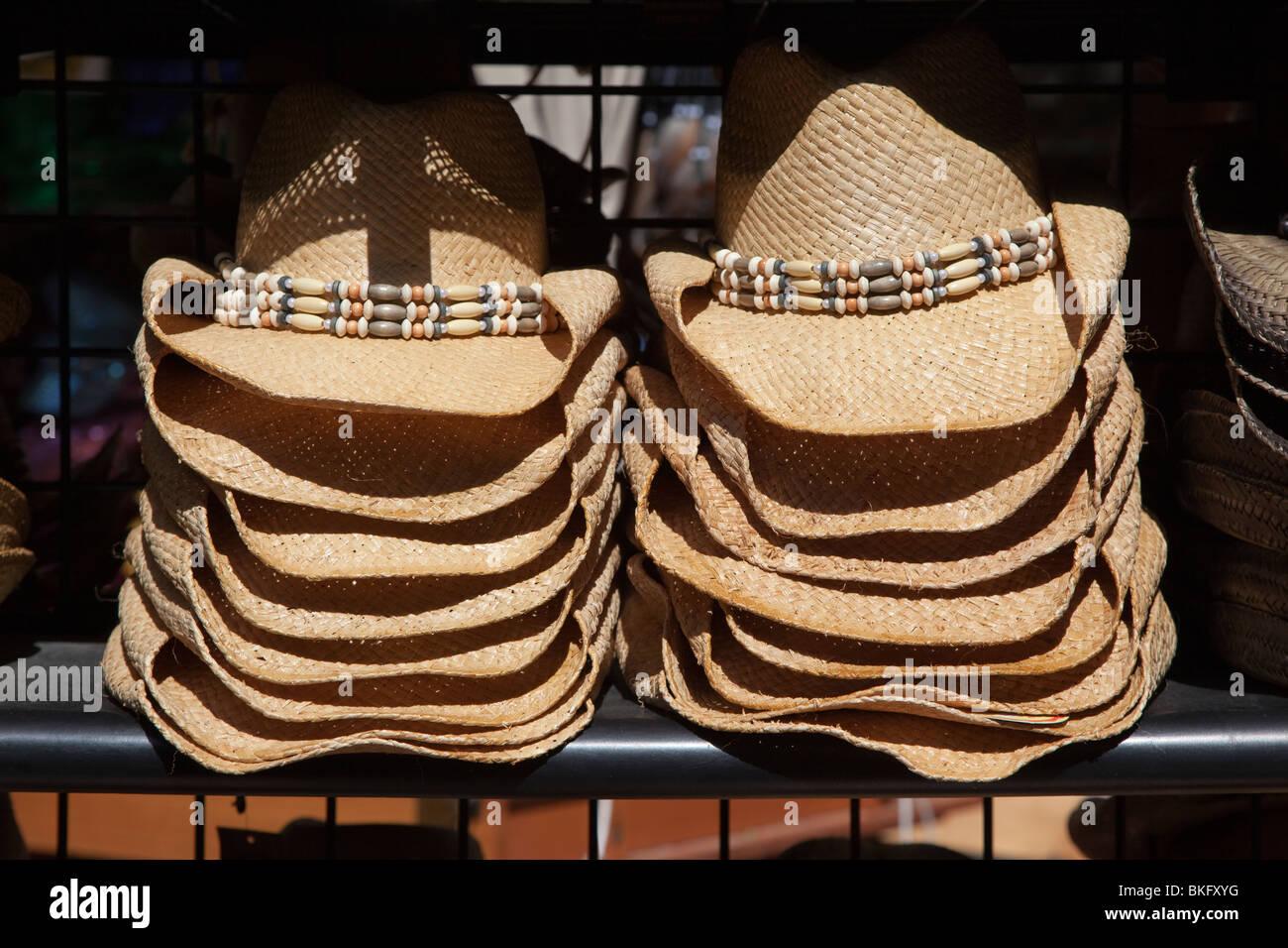 f79d6496286 Woven raffia straw hats on sale San Antonio Texas USA - Stock Image