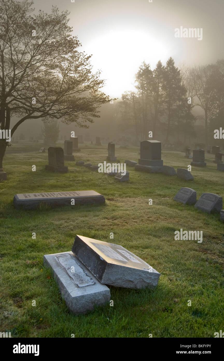 Broken Grave Marker Tombstone Vandalism In Cemetery, Philadelphia, USA - Stock Image
