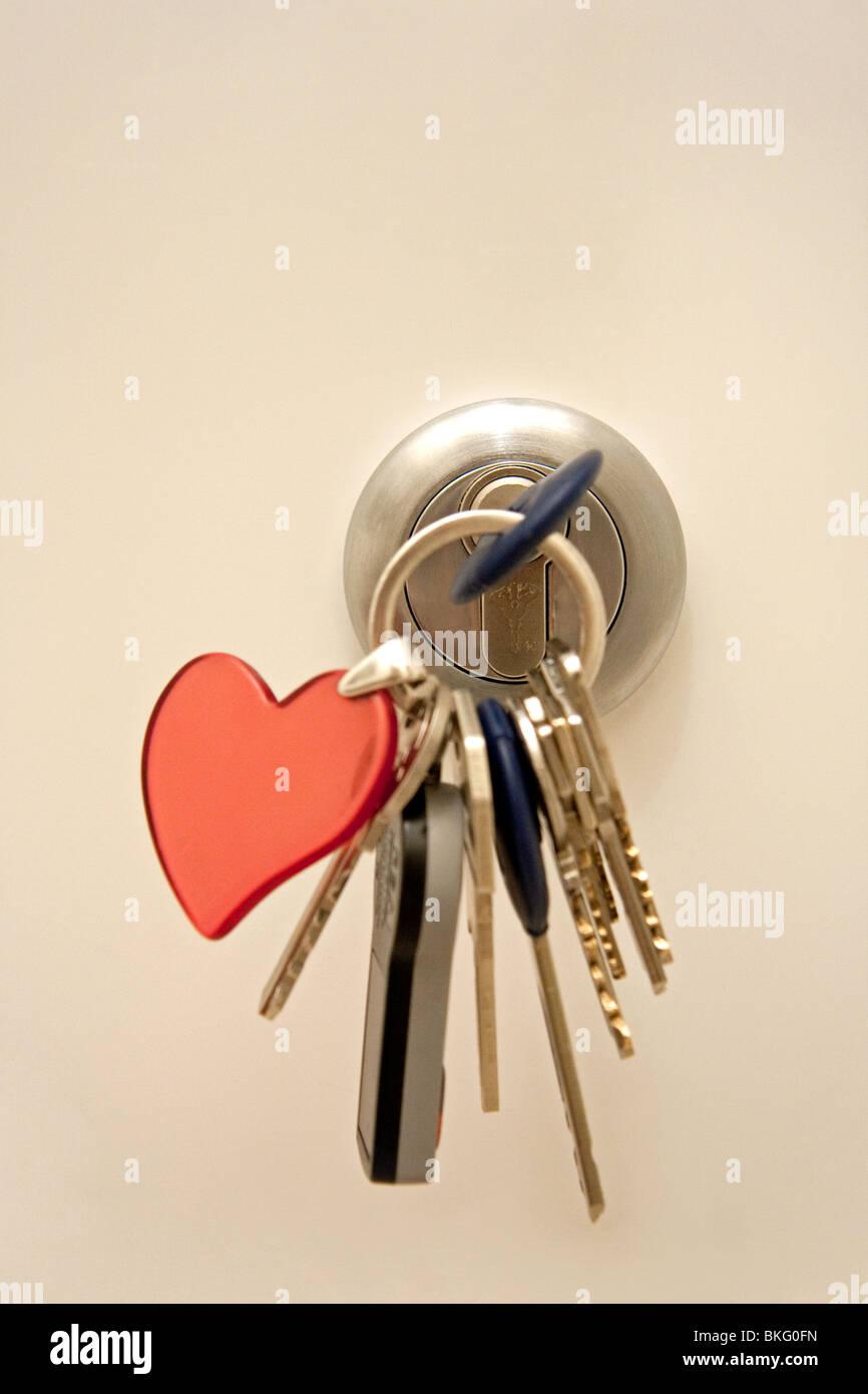 Door lock with keys - Stock Image