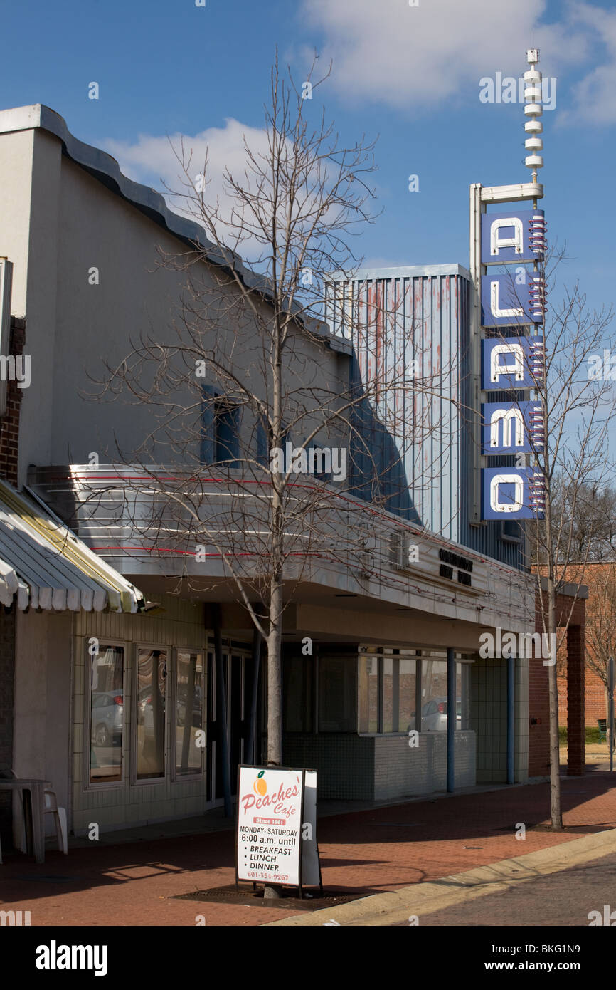 Alamo Theater, historic blues venue, Farish Street, blues trail, Jackson, Mississippi - Stock Image