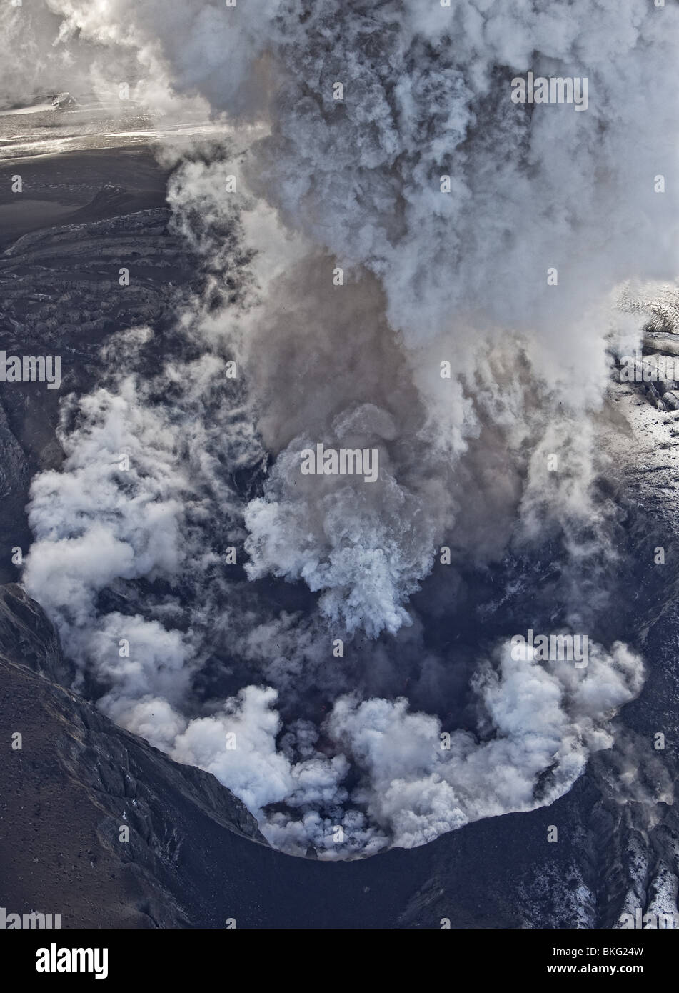 Aerial of Ash cloud from Eyjafjallajokull Volcano Eruption, Iceland - Stock Image