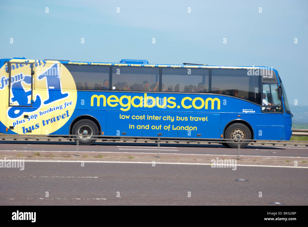 Megabus on the M62 motorway (near Huddersfield). - Stock Image