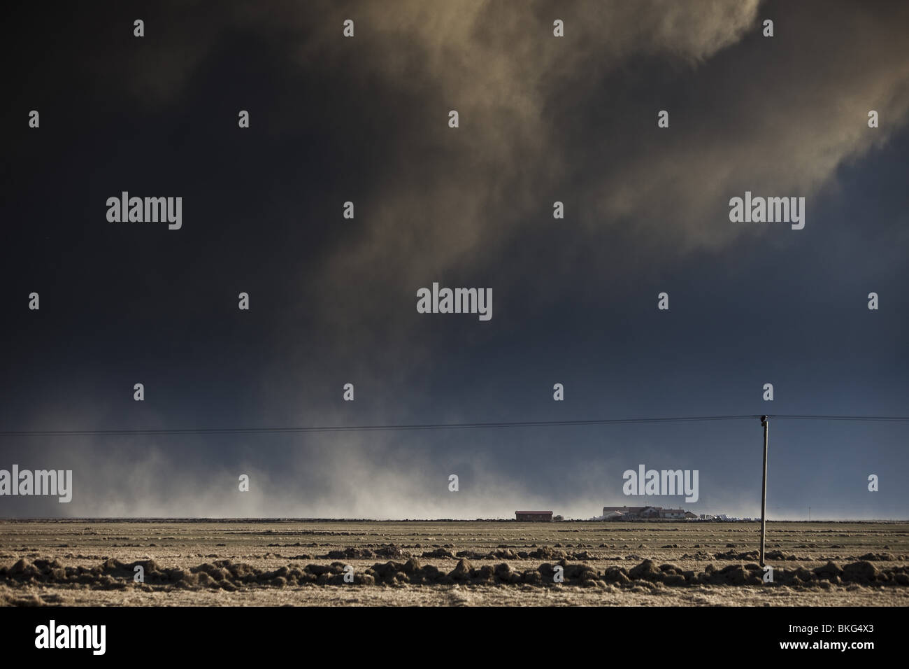 Volcanic Ash Cloud from Eyjafjallajokull Volcano Eruption, Iceland. Stock Photo
