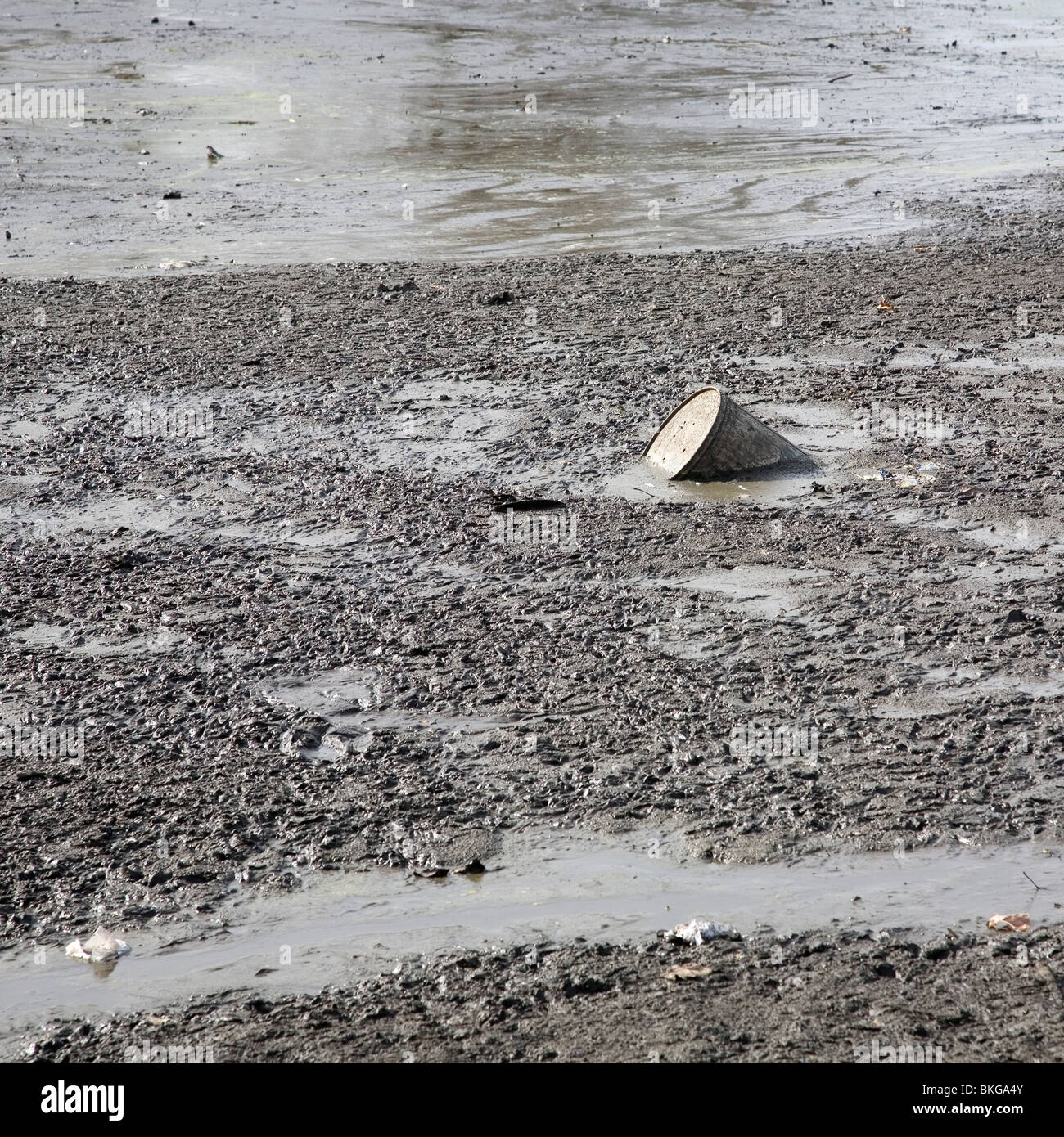Drum in the mud - Stock Image