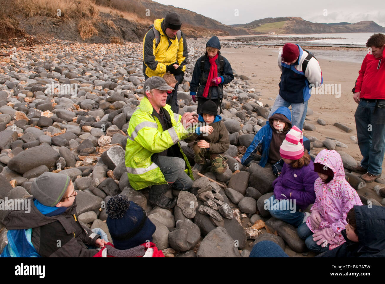 Fossil Hunting on Lyme Regis Beach on the Jurassic Coast Dorset UK Stock Photo