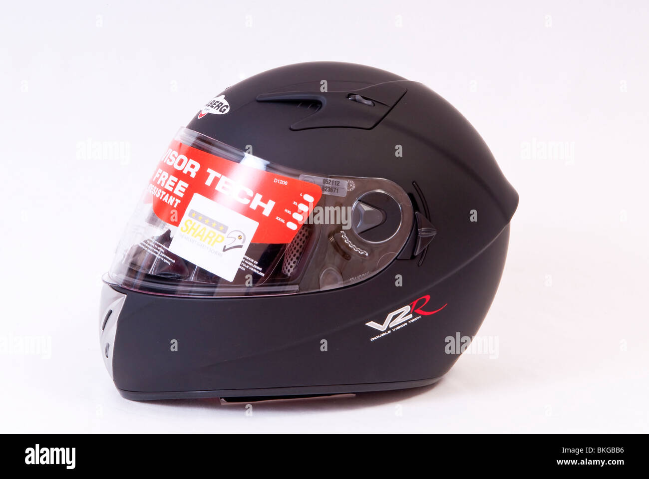 Matt Black Motorcycle Crash Helmet Stock Photo