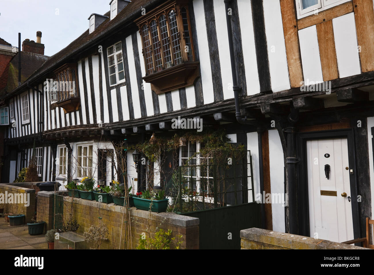 Timber framed Tudor houses in Vicar's Close, Lichfield Cathedral Close, Staffordshire. - Stock Image