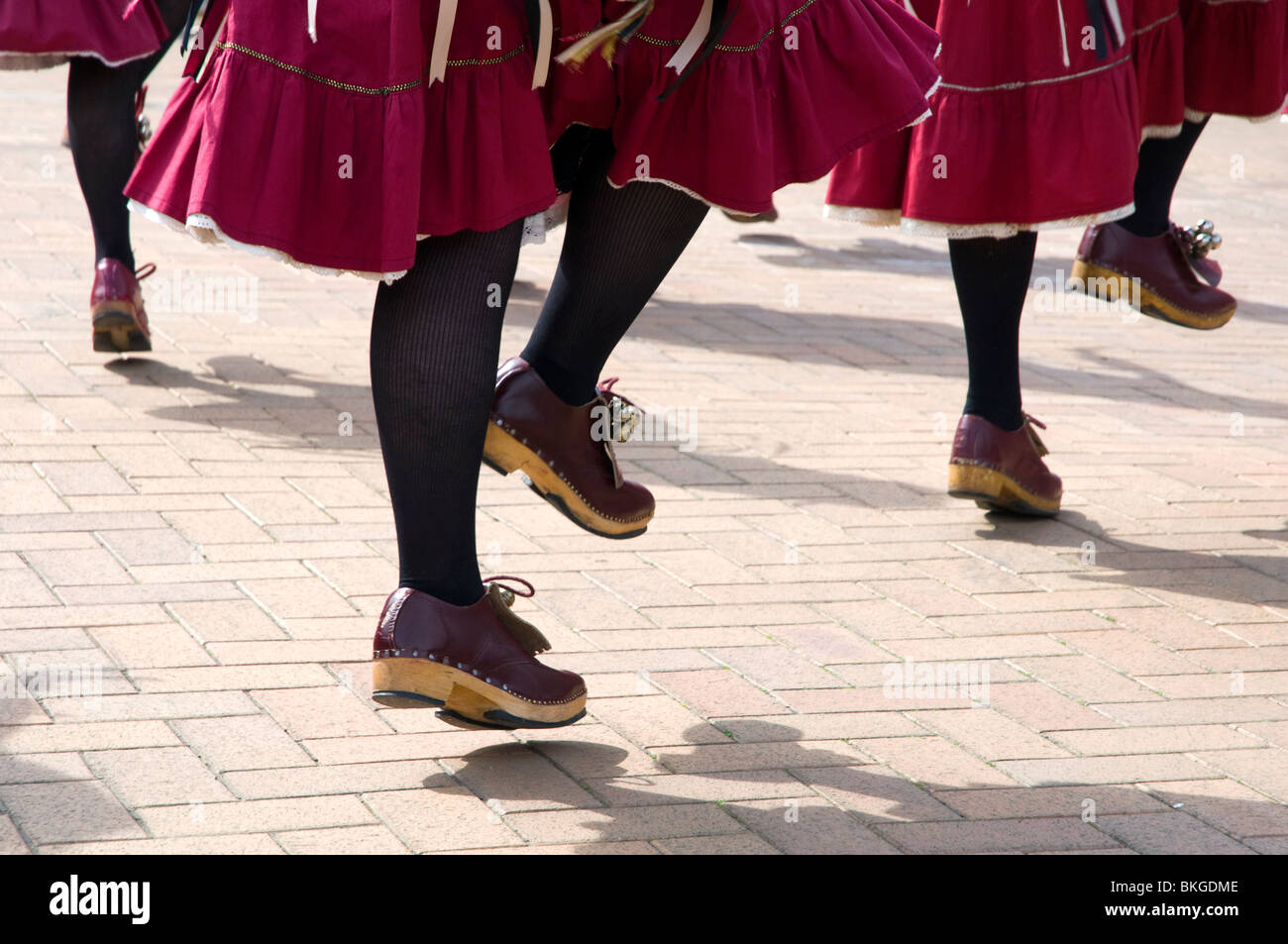 Ladies clog dancing, detail of skirts and clogs, Northwest Morris - Stock Image