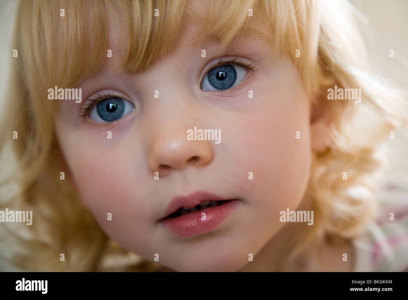 close up of 2 year old toddlers face - Stock Image
