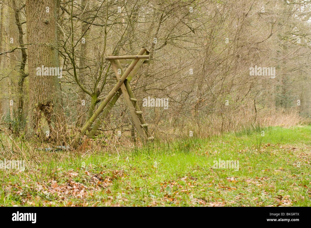 Een hoogzit wordt in Duitsland veel gebruikt voor observatie en jacht. Elevated position for hunting and observing - Stock Image
